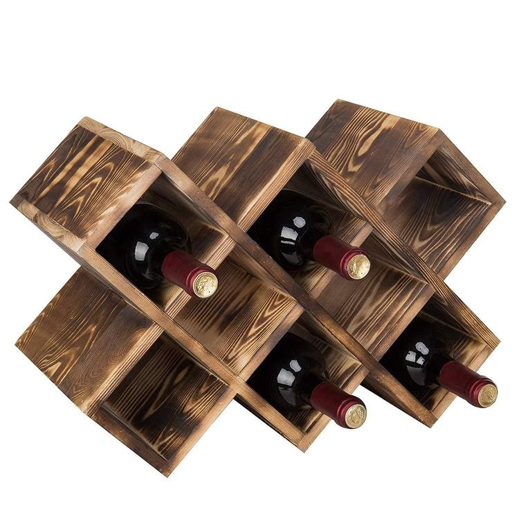 Burnt Wood 8-Bottle Wine Rack