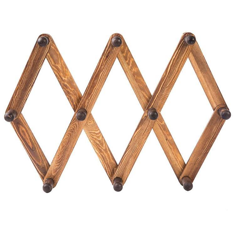 10 Hook Burnt Wood Wall Mounted Expandable Accordion Peg Coat Rack Hanger - MyGift Enterprise LLC