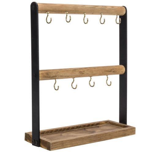 Burnt Wood & Black Metal Key Hook Valet Stand with Storage Tray - MyGift