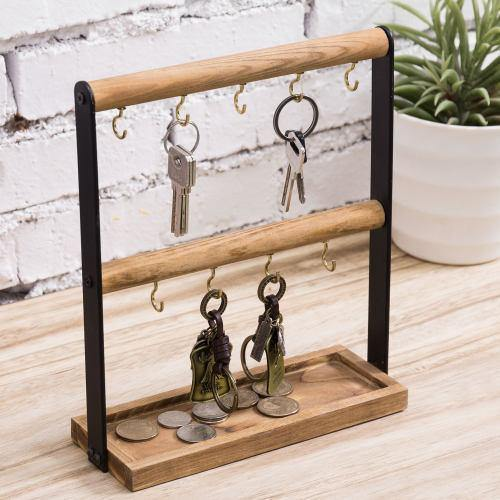 Burnt Wood & Black Metal Key Hook Valet Stand with Storage Tray