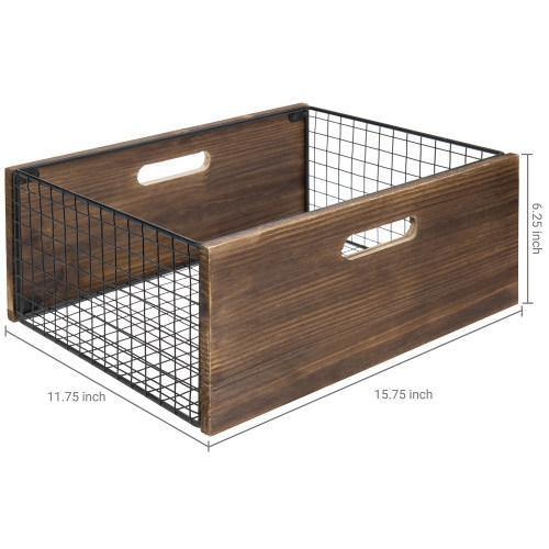 Burnt Wood & Black Metal Mesh Storage Basket - MyGift