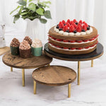 Burnt Wood Dessert Display Riser with Brass Tone Legs, Set of 3