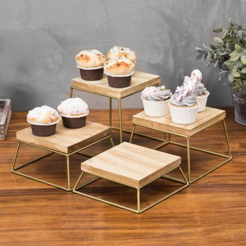 Burnt Wood & Gold Metal Square Display Risers/Pizza Stands, Set of 4 - MyGift