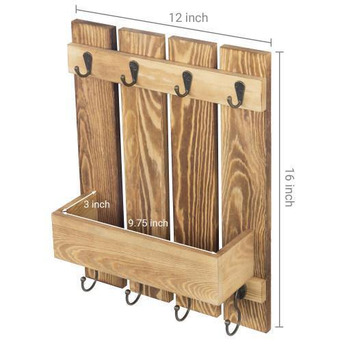 Burnt Wood Kitchen Accessories Rack with Shelf