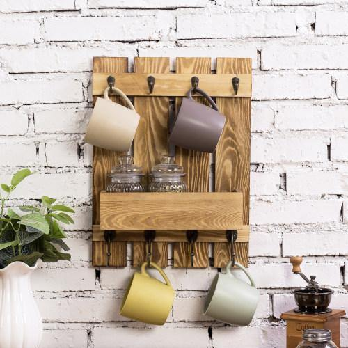 Burnt Wood Kitchen Accessories Rack with Shelf - MyGift