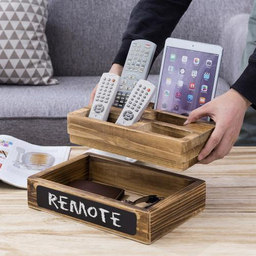 Burnt Wood Media Organizer with Cell Phone Slot, Chalkboard & Tray - MyGift