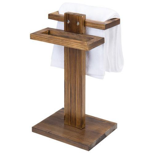 Burnt Wood Tabletop Hand Towel Holder Stand