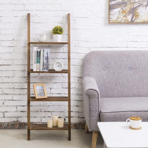 Burnt Wood Wall-Leaning Ladder Shelf - MyGift
