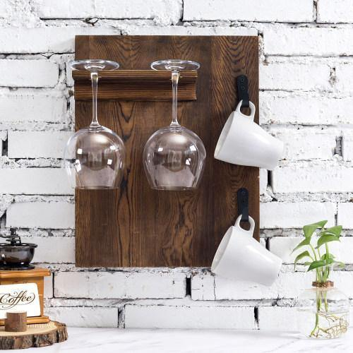 Burnt Wood Wall Mounted Wine Glass and Coffee Mug Rack - MyGift