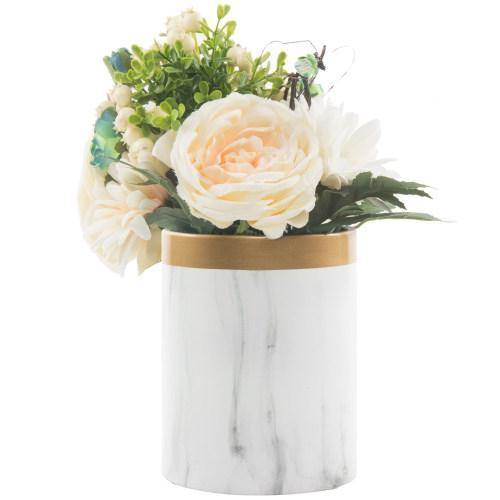 Ceramic Flower Vase, Marble Pattern with Gold Trim