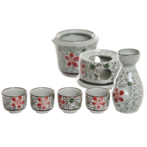 Ceramic Japanese Sake Set w/ 4 Shot Glass/Cups, Serving Carafe & Warmer Bowl - MyGift