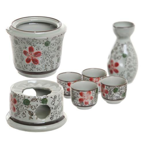 Ceramic Japanese Sake Set w/ 4 Shot Glass/Cups, Serving Carafe & Warmer Bowl