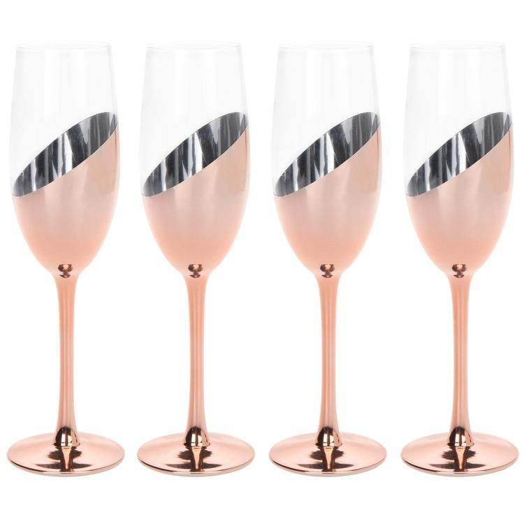 Champagne Flute Glasses in Rose Gold, Set of 4