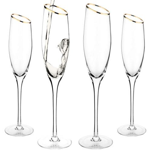 Champagne Flute Glasses with Gold-Tone Rim, Set of 4