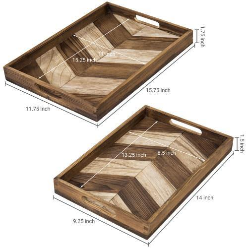 Chevron Design Burnt Brown Wood Nesting Tray, Set of 2
