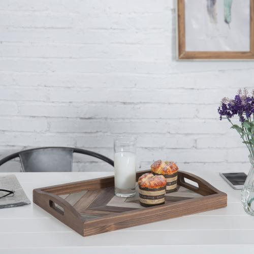 Chevron Pattern Wood Breakfast Serving Tray, Multicolor