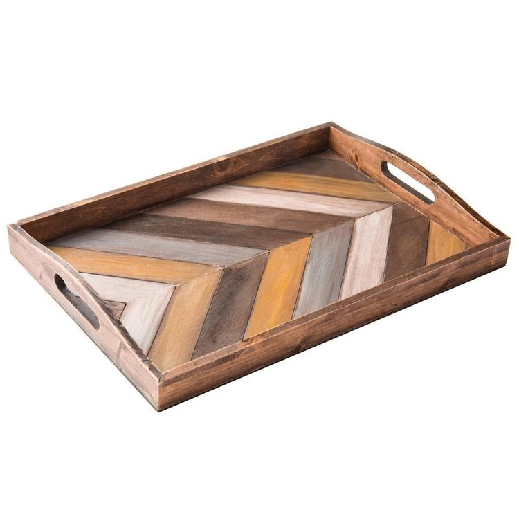Chevron Pattern Wood Breakfast Serving Tray