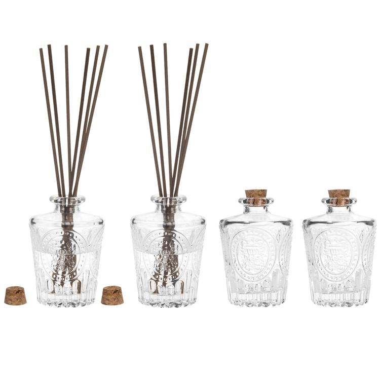 Classic Embossed Diffuser Bottles Set of 4