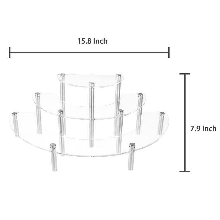 3-Tier Clear Acrylic Semicircle Cupcake Dessert Display Stand, Set of 2 - MyGift Enterprise LLC