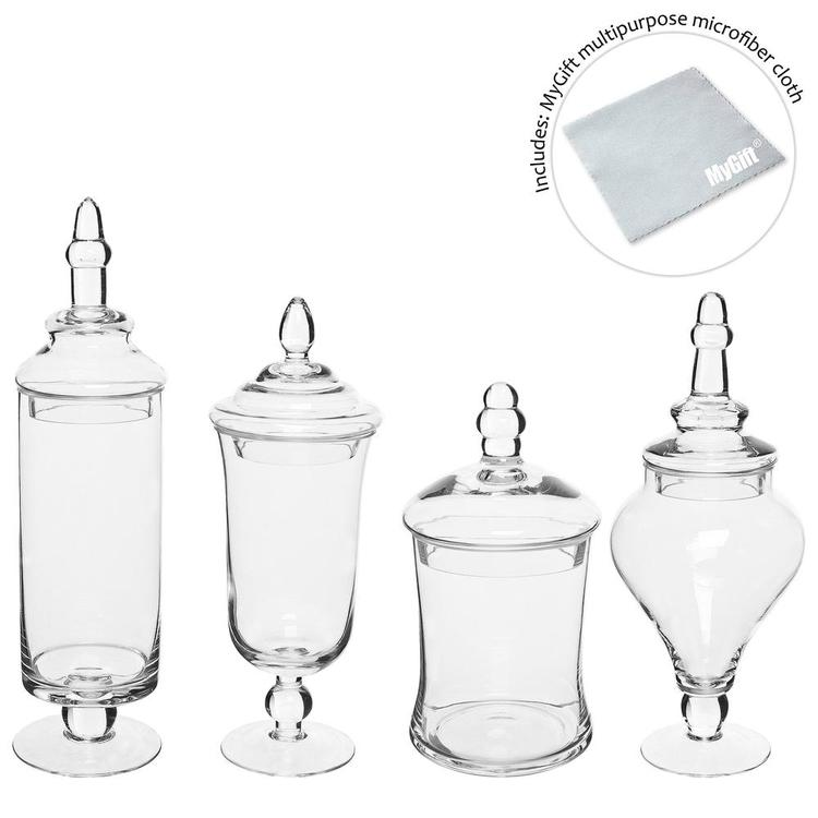 Clear Glass Apothecary Jars / Decorative Small Storage Bottles, Set of 4 - MyGift Enterprise LLC