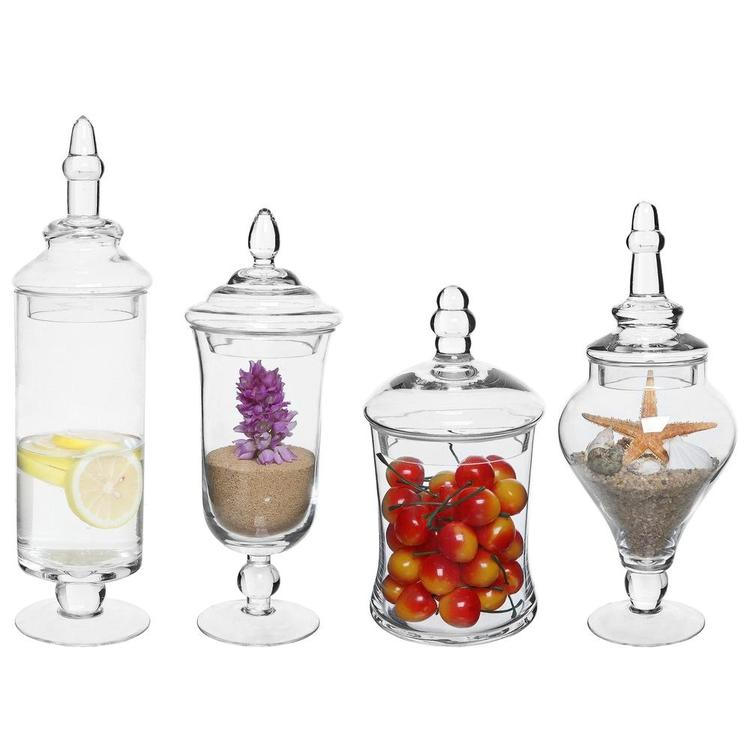 Clear Glass Apothecary Jars, Set of 4