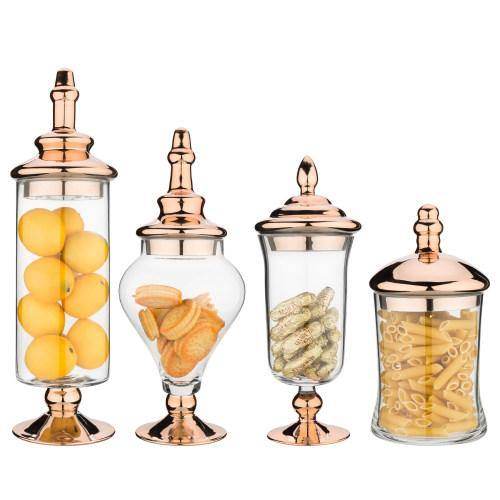 Clear Glass Apothecary Jars with Metallic Copper-Tone Lids, 4pcs
