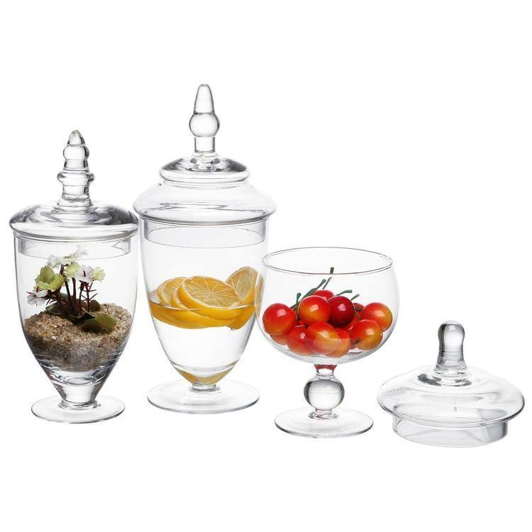 Clear Glass Apothecary / Wedding Centerpiece Jars, 3 Piece Set