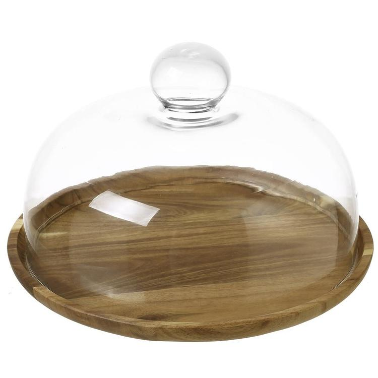 Clear Glass Cloche Dome with Acacia Wood Serving Tray, 9 Inch