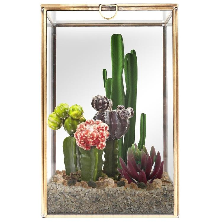 Clear Glass Plant Terrarium with Brass Metal Frame - MyGift Enterprise LLC