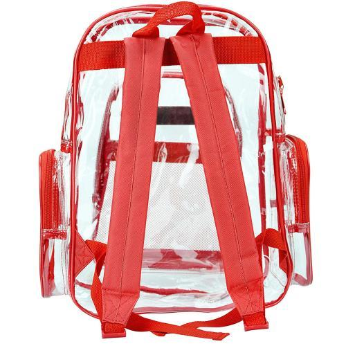 Clear Security School Backpack with Red Trim
