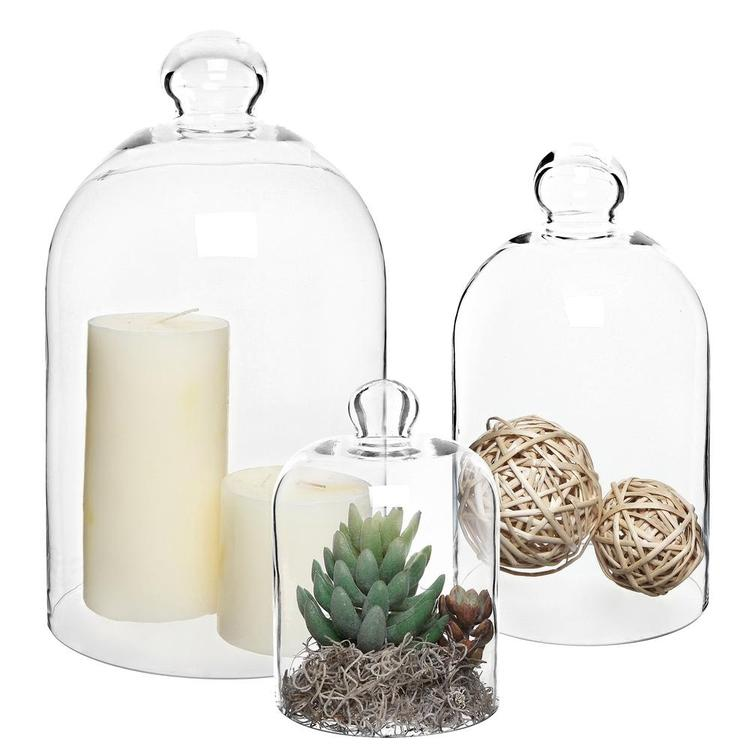 Decorative Clear Glass Apothecary Cloche Bell Jars, Set of 3 - MyGift Enterprise LLC