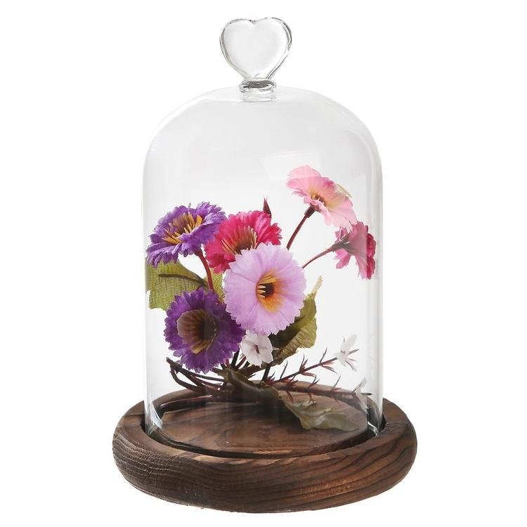 7 inch Mini Clear Glass & Wood Cloche Bell Jar Centerpiece / Tabletop Display Case w/ Heart Handle - MyGift Enterprise LLC