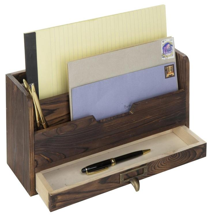 3-Tier Coffee Brown Wood Office Desk File Organizer Mail Sorter Tray Holder w/ Storage Drawer - MyGift Enterprise LLC