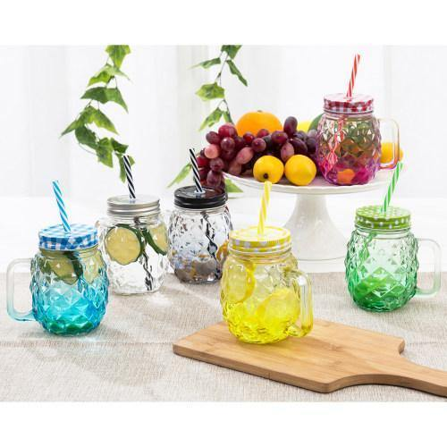 Colorful Pineapple-Shaped Mason Jar Mug Glasses with Straws & Lids, Set of 6 - MyGift