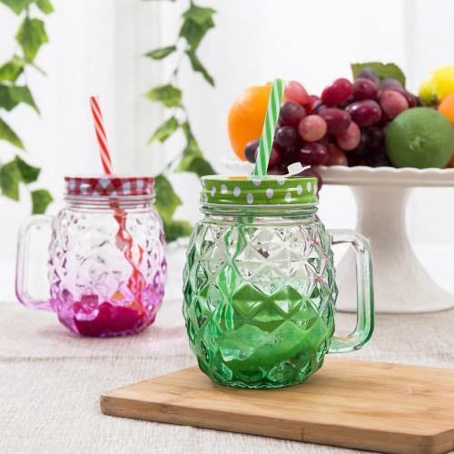 Colorful Pineapple-Shaped Mason Jar Mug Glasses with Straws & Lids, Set of 6