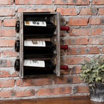 Contemporary 3-Bottle Torched Wood & Black Metal Wine Rack