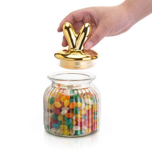 Cookie/Candy Jar with Gold Bunny Ears Lid