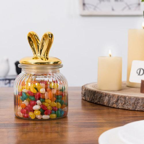 Candy Jar with Gold Bunny Ears Lid