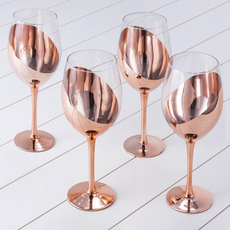 Copper-Dipped Wine Glasses, Set of 4