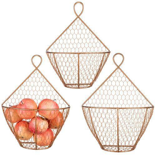 Copper Metal Wire Wall Hanging Produce Baskets, Set of 3 - MyGift