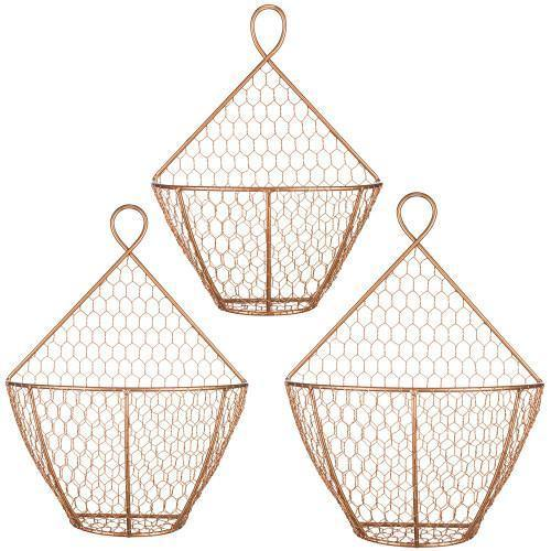 Copper Metal Wire Wall Hanging Produce Baskets, Set of 3