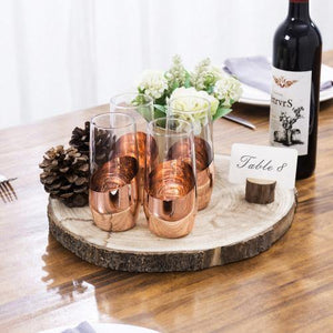 Copper Stemless Champagne Flute Glasses, Set of 4