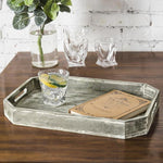 Country Rustic Wood Serving Tray with Cutout Handles and Angled Edges - MyGift Enterprise LLC