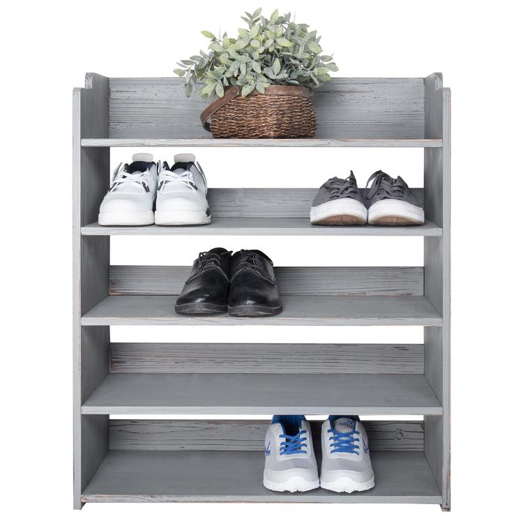 Country Rustic Gray Wood Shoe Storage Rack