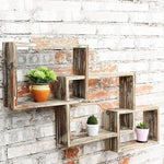 Country Rustic Wall Mounted Floating Box Shelves, Brown