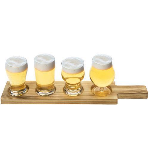 Craft Beer Tasting Flight Set with 4 Glasses & Brown Wood Paddle Serving Tray