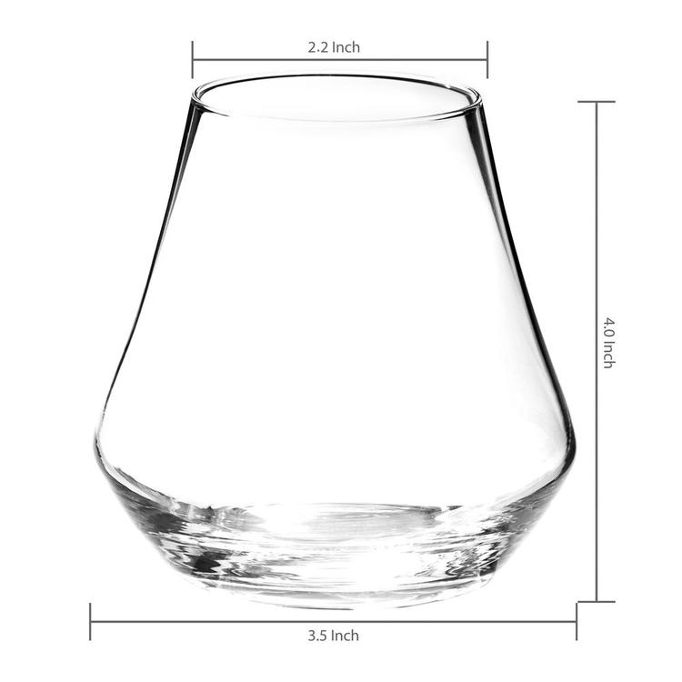 Clear Crystal Whiskey Tasting Snifter Tumbler Glasses Gift Box, Set of 4 - MyGift Enterprise LLC