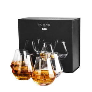 Crystal Whiskey Tasting Snifter Tumbler Glasses Gift Box, Set of 4