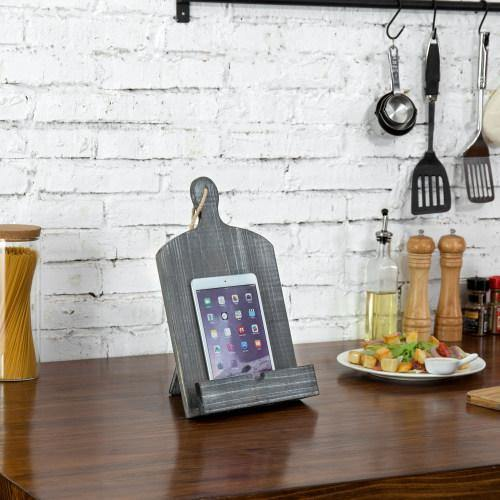 Cutting Board-Style Gray Wood Cookbook and Tablet Stand