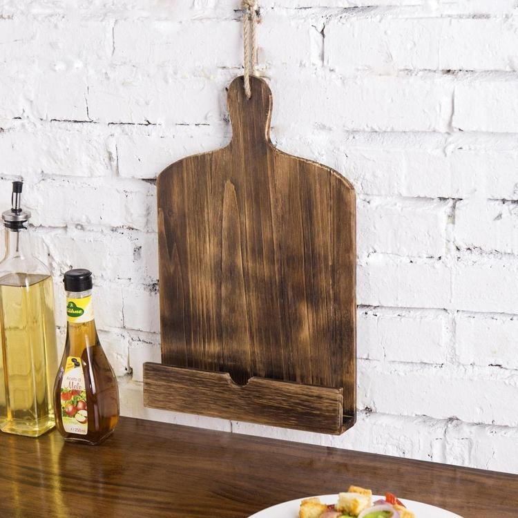 Cutting Board Style Wood Recipe Cookbook / Tablet Holder with Kickstand, Brown - MyGift Enterprise LLC